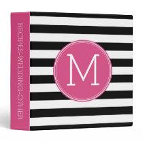 Black and White Striped Pattern Hot Pink Monogram Binder