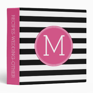 Black and White Striped Pattern Hot Pink Monogram Binder