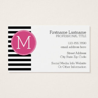 Black and White Striped Pattern Hot Pink Monogram Business Card