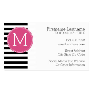 Black and White Striped Pattern Hot Pink Monogram Double-Sided Standard Business Cards (Pack Of 100)