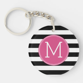 Black and White Striped Pattern Hot Pink Monogram Single-Sided Round Acrylic Keychain