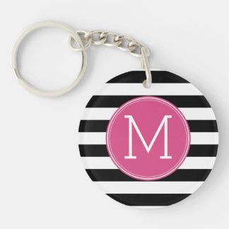 Black and White Striped Pattern Hot Pink Monogram Keychain