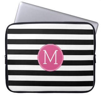 Black and White Striped Pattern Hot Pink Monogram Laptop Computer Sleeves