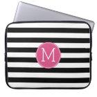 Black and White Striped Pattern Hot Pink Monogram Laptop Sleeve