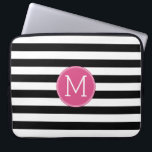 "Black and White Striped Pattern Hot Pink Monogram Laptop Sleeve<br><div class=""desc"">A bold and modern design with an area for monograms. If you need to adjust the artwork or change the font,  you can click on the customize area. This will take you to the design tool where you can make many changes.</div>"