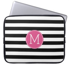 Black And White Striped Pattern Hot Pink Monogram Laptop Sleeve at Zazzle