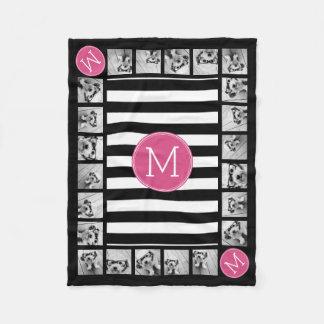 Black and White Striped Pattern Hot Pink Monogram Fleece Blanket