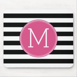 Black and White Striped Pattern Hot Pink Monogram Mouse Pad