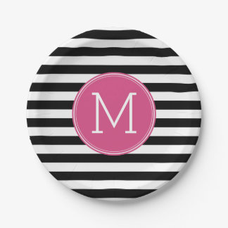 Black and White Striped Pattern Hot Pink Monogram Paper Plate
