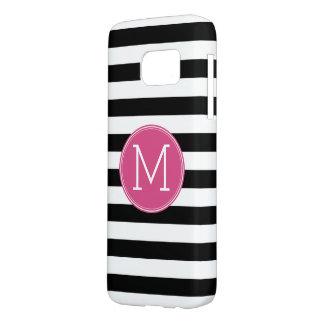 Black and White Striped Pattern Hot Pink Monogram Samsung Galaxy S7 Case