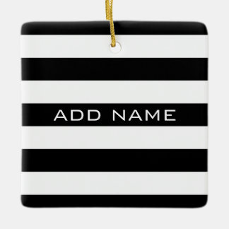 Black and White Striped Pattern with Name Ceramic Ornament