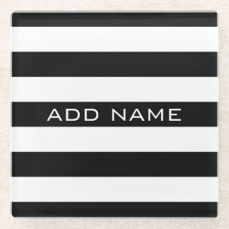 Black and White Striped Pattern with Name Glass Coaster