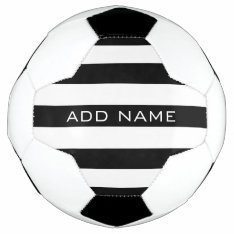 Black And White Striped Pattern With Name Soccer Ball at Zazzle