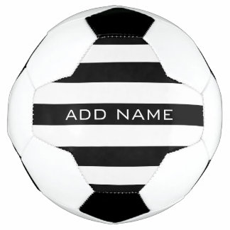 Black and White Striped Pattern with Name Soccer Ball
