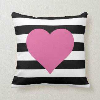 Black and White Striped Pink Heart Throw Pillow
