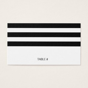 Professional Business Black and white striped place cards - flat