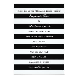 Black and White Striped Rehearsal Dinner Card