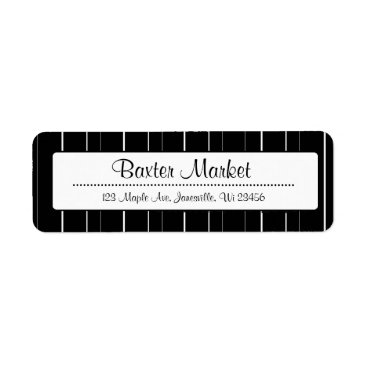 Professional Business Black and White  Striped Return Address Labels