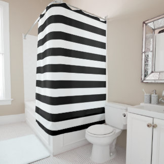 Black White Striped Shower Curtains | Zazzle
