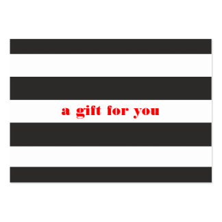 Black and White Striped Simple Holiday Gift Card Large Business Cards (Pack Of 100)