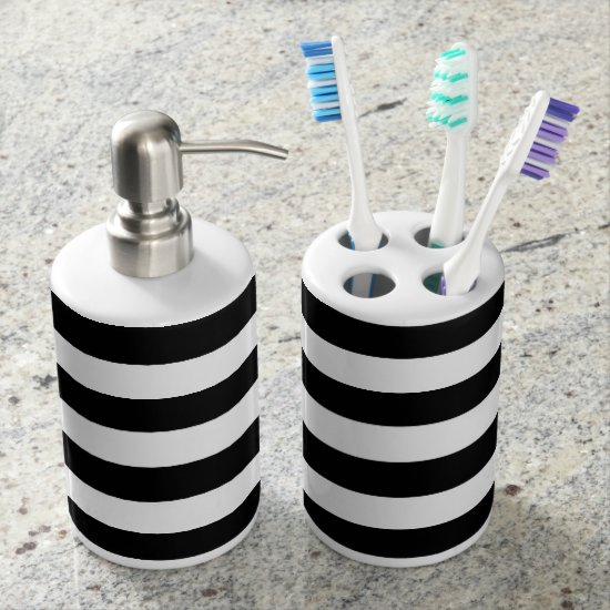 Black and White Striped Stylish Modern Decor Bathroom Set