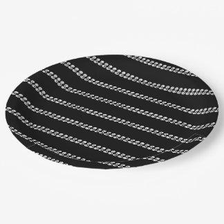 Black and White Striped Swirls Pattern Paper Plate