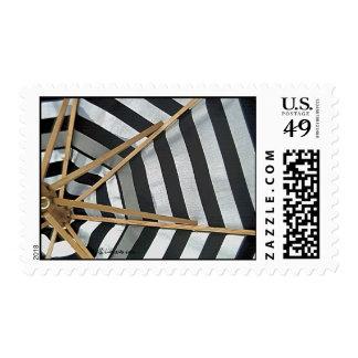 Black and White Striped Umbrella Postage Stamps