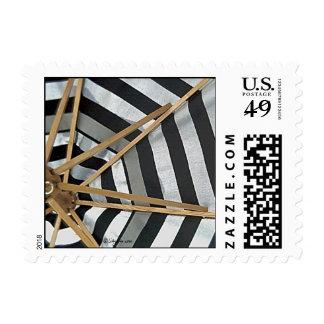 Black and White Striped Umbrella Small Stamps