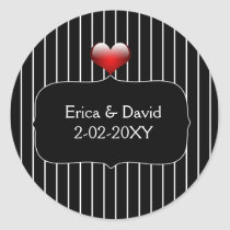 Black and White Striped Wedding Classic Round Sticker