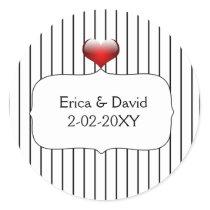 Black and White Striped Wedding Classic Round Sticker