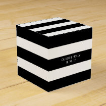 Black and white striped wedding favor box