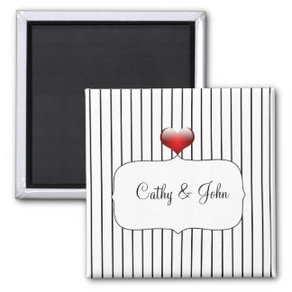 Black and White Striped Wedding Magnet