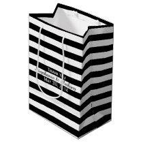 Black and White Striped Wedding Medium Gift Bag