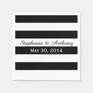 Black and White Striped Wedding Napkin