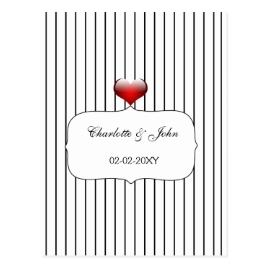 Black and White Stripes Modern Wedding Invitations