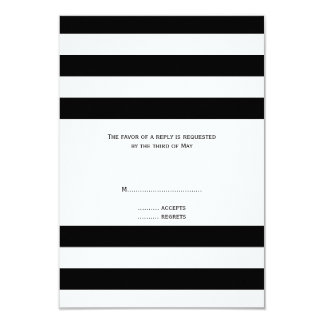 "Black and White Striped Wedding RSVP 3.5"" X 5"" Invitation Card"