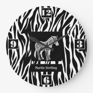 Black and White Striped Zebra Jungle Theme Large Clock
