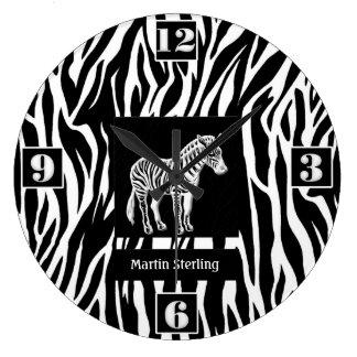 Black and White Striped Zebra Jungle Theme Large Clock