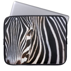 Black and White Striped Zebra Laptop Computer Sleeves