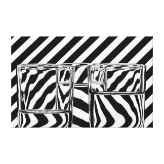 Black and White Stripes Abstract Glasses Canvas