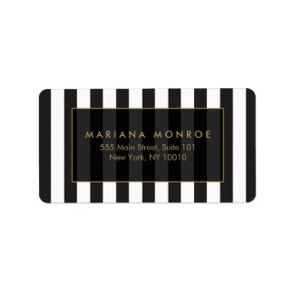 Black and White Stripes Address Label