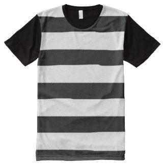 Black and White Stripes All-Over Print Shirt
