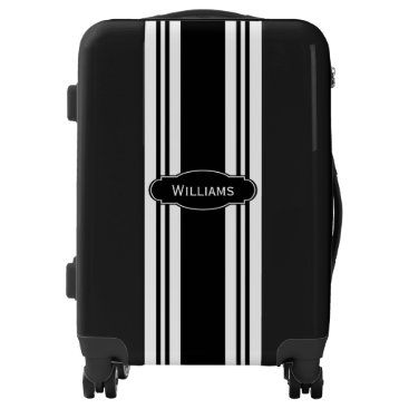Professional Business Black and White Stripes and Monogram Luggage
