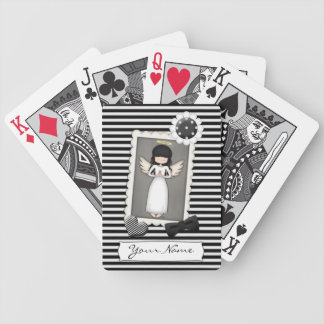 Black and White Stripes,  Angel and Embellishments Bicycle Playing Cards