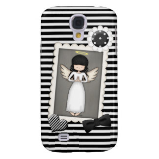 Black and White Stripes,  Angel and Embellishments Samsung Galaxy S4 Case