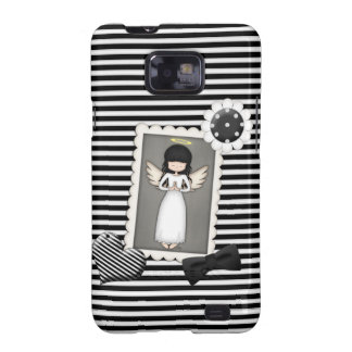 Black and White Stripes,  Angel and Embellishments Galaxy S2 Cover
