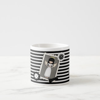 Black and White Stripes, Angel and Embellishments Espresso Cup