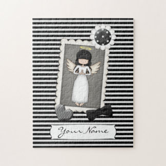 Black and White Stripes,  Angel and Embellishments Jigsaw Puzzle