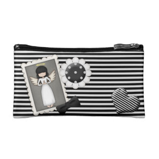 Black and White Stripes,  Angel and Embellishments Makeup Bag