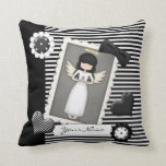 Black and White Stripes,  Angel and Embellishments Pillow